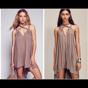 Free People Harbor Island Dress in Taupe Small